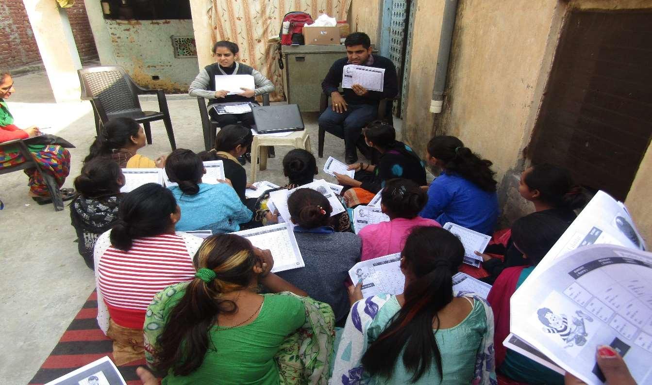 Breakfast Zaruri Hai- The PUSHTi Team Demonstrating Use Of Meal Tracker With Out Of School Girls At Bazigar Basti, Nabha